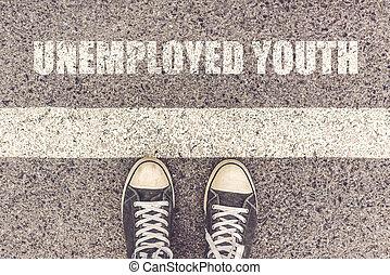 青年, 失業者, 線, 待つこと