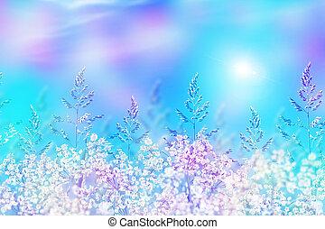 青緑, 草, 空, 背景