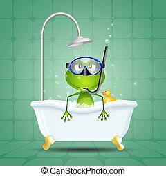 青蛙, 在, 洗澡, 由于, 潛水面具