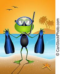 青蛙, 由于, 潛水面具
