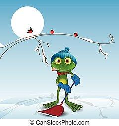 青蛙, 由于, a, 鏟