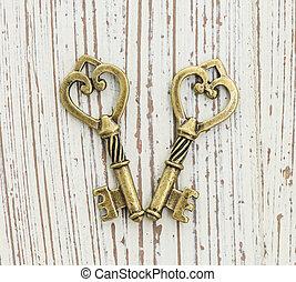 青銅, 垂飾, 在, the, 形式, ......的, a, key.