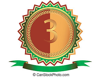 青銅, 獎章, 由于, 星, 以及, 綠色, 帶子, (vector)