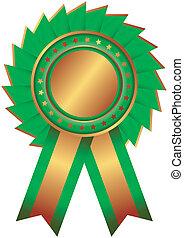 青銅, 獎章, 由于, 藍色的帶子, (vector)