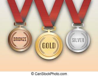 青銅, 集合, 銀, 獎章, 矢量, 金
