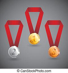 青銅, 集合, 銀, 獎章, 金
