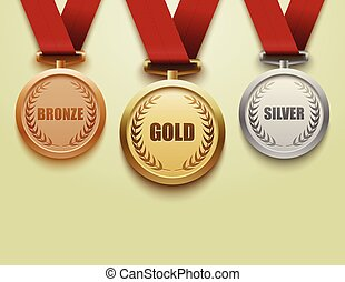 青銅, 集合, 銀, 金