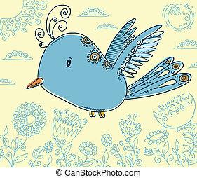 青, いたずら書き, ベクトル, 鳥