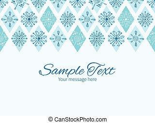 青, いたずら書き, 抽象的, 挨拶, ひし形, ベクトル, テンプレート, 招待, 横, ボーダー, カード