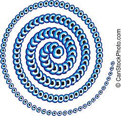 青, お守り, 線, ベクトル, 芸術