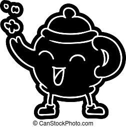 青, お茶ポット, 図画, 漫画, アイコン