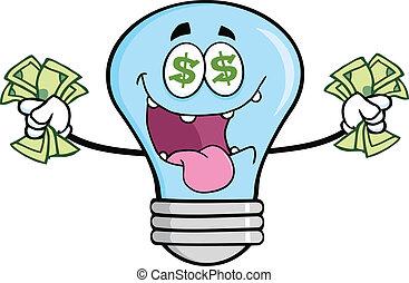 青, お金, 情事, 電球, ライト