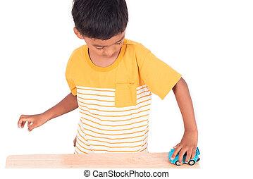 青, かわいい, わずかしか, おもちゃ, 男の子, 自動車, アジア 子供, 幼稚園児, 遊び, 子供