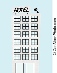 青, かわいい, 上に, ホテル, ベクトル, 背景, 漫画