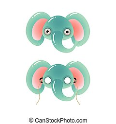 青, かわいい, 学校の 謝肉祭, 色, マスク, 象, パーティー, 子供