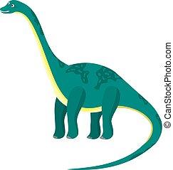 青, かわいい, 平ら, ∥あるいは∥, 高く, 恐竜, 緑, diplodocus, 漫画