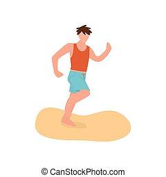 青, かわいい, 男の子, ショートパンツ, 若い, 動くこと, 浜