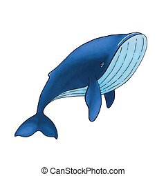 青, かわいい, 隔離された, 漫画, ベクトル, 背景, 白い鯨