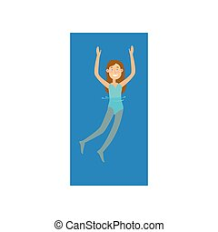 青, かわいい, swimwear, 毛, 女の子の微笑, 赤, 水泳