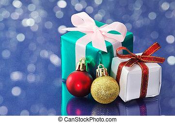 青, きらめき, プレゼント, バックグラウンド。, 小さい