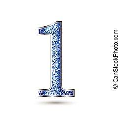 青, きらめき, 数, サファイア, 1(人・つ)
