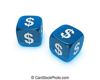 青, さいころ, ドル記号, 対, 半透明