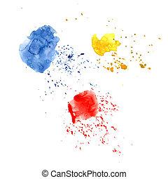 青, しみになる, 装飾, しみ, グランジ, 小滴, 色, 抽象的, スポット, 3, 黄色, 水彩画, splashes., 明るい, 旗, デザイン, 汚れ, フライヤ, style., 赤, 背景