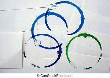 青, しみ, ペーパー, 緑の背景, 白いリング