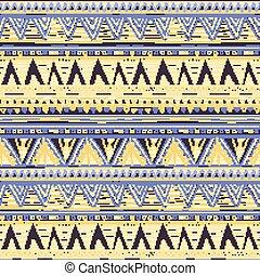 青, すみれ, pattern., seamless, 黄色, 編まれる, ベクトル, 背景, 民族, 幾何学的, 横