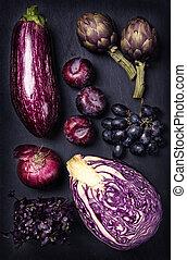 青, そして, 紫色, 果物と野菜