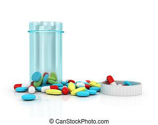 青, ふた, カラフルである, ジャー, プラスチック, バックグラウンド。, 白, 取り去られた, 丸薬, 半透明