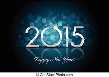 青, ぼやけ, -, ベクトル, 背景, 年, 2015, 新しい, 幸せ