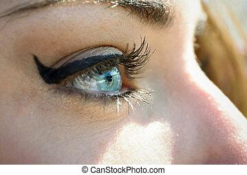 青, まつげ, 女性, 目, 長い間, 若い, クローズアップ