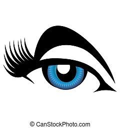 青, まつげ, 目, 女性, 長い間