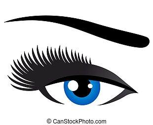 青, まつげ, 目, 長い間