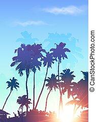 青, やし, ポスター, シルエット, 背景, 日の出