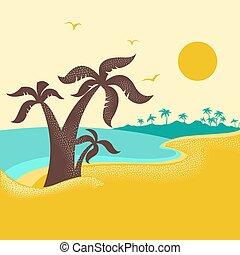 青, やし, 自然, 島, ポスター, 海洋, トロピカル, 海景, 波, .vector