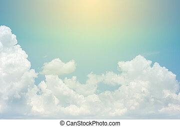 青, ゆとり, 空, 雲, 背景