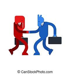 青, ろば, friendship., 政治的である, 握手, 民主党員, conversation., truce...