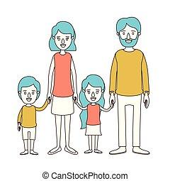 青, わずかしか, 風刺漫画, グループ, 家族, 色, 毛, 子供, 親, 手, 取られる, セクション