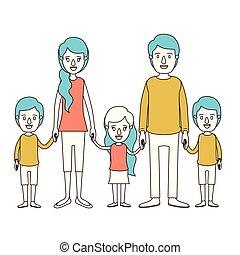 青, わずかしか, 風刺漫画, 家族, 色, 若い, 毛, 子供, 親, 手, 取られる, セクション