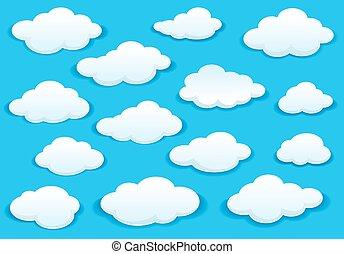 青, アイコン, ふんわりしている, 空, 白い雲