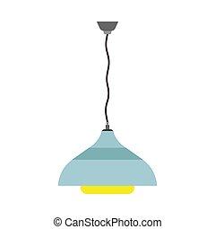 青, アイコン, ライト, concept., 明るい, 印, 装飾, 装置, ランプ, ベクトル, 照明, 内部, 明り, luminaire, 光沢がある, 白熱