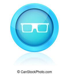 青, アイコン, 光沢がある, 反射, ガラス
