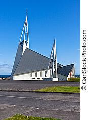 青, アイスランド, 現代, 空, 明るい, 背景, 教会