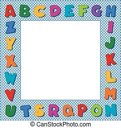 青, アルファベット, ギンガム, 点検, フレーム