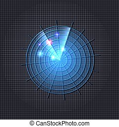 青, イラスト, ネオン, 暗い, レーダー, 明るい, ベクトル, icon., 背景