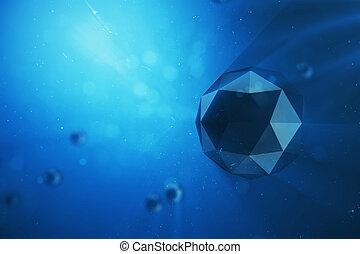 青, イラスト, spheres., 微片, 混沌としている, light., 抽象的, space., 深さ, poly, ボリューム, フィールド, bokeh, ほこりまみれである, 低い, 背景, 効果, 未来派, 3d
