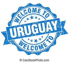 青, ウルグアイ, 型, 歓迎, 隔離された, シール, grungy