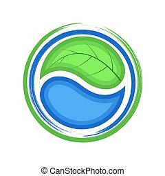 青, エコロジー, 葉, eco, 低下, 緑水, ロゴ, アイコン